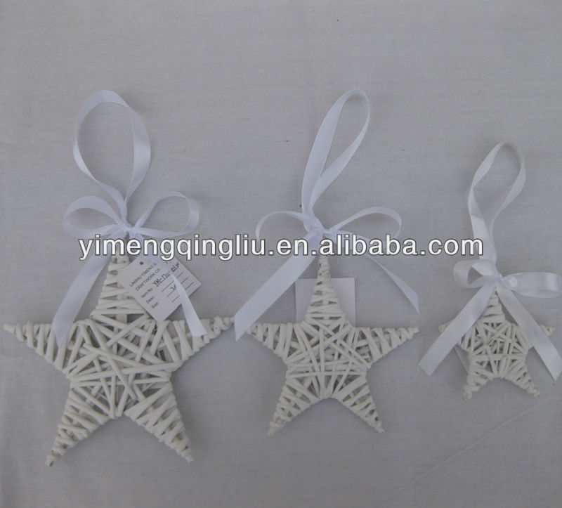 White Wicker Christmas Star Decoration