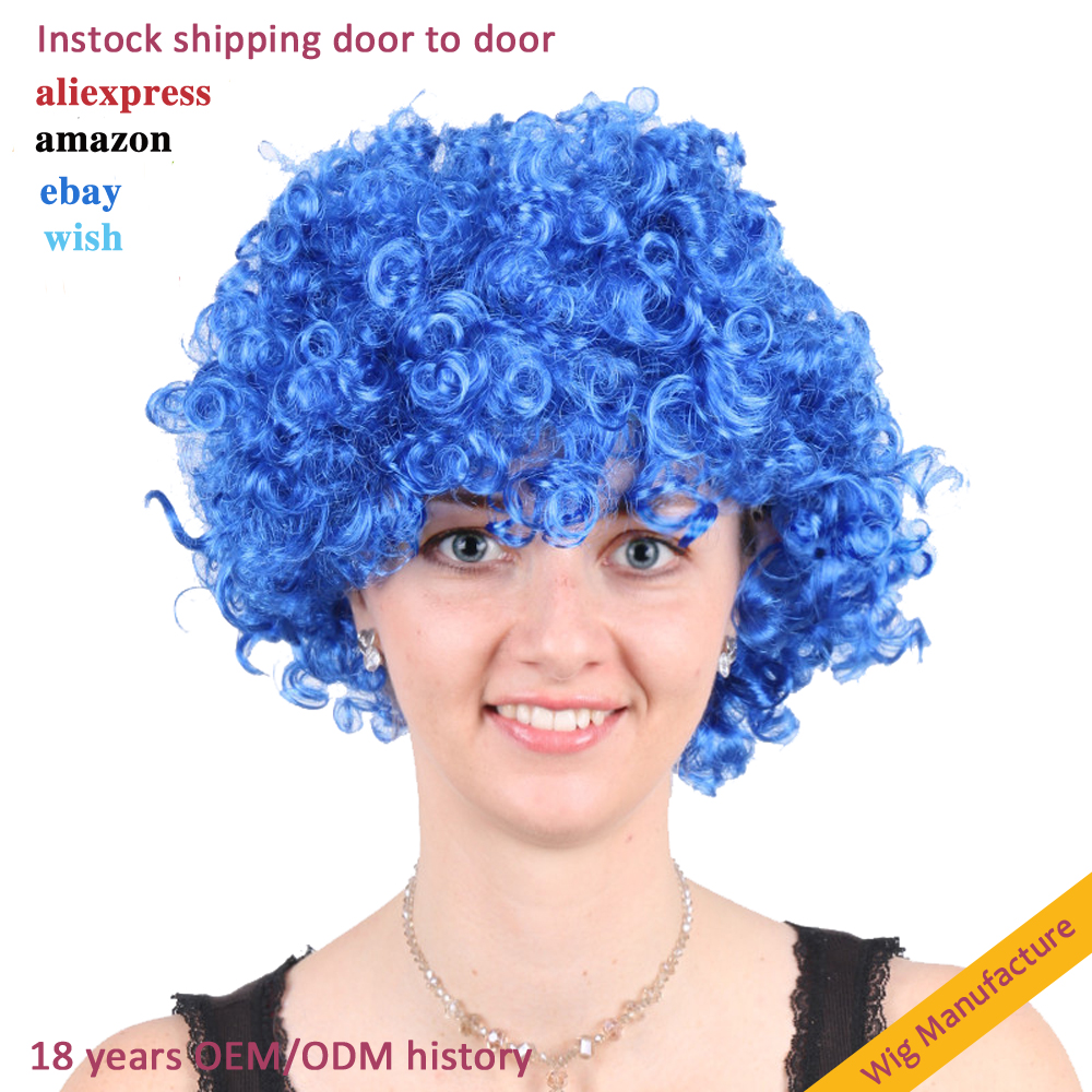 wholesale cheap synthetic fiber hair disco party clown afro football fan  wigs hair costume carnival cosplay hair afro party wig - buy big afro