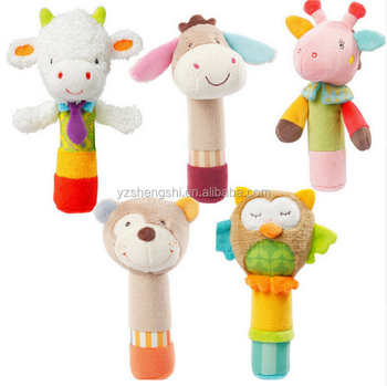 OEM infant animal baby giraffe dog owl lion band rattle toy stick stuffed plush rattle toys