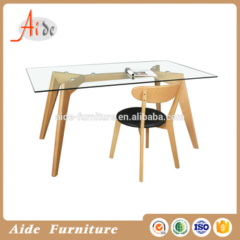 Rectangle glass dining table wood leg