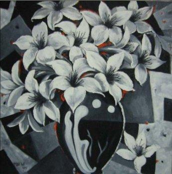 Painting Bunga Lili Black White Buy Painting Product On Alibaba