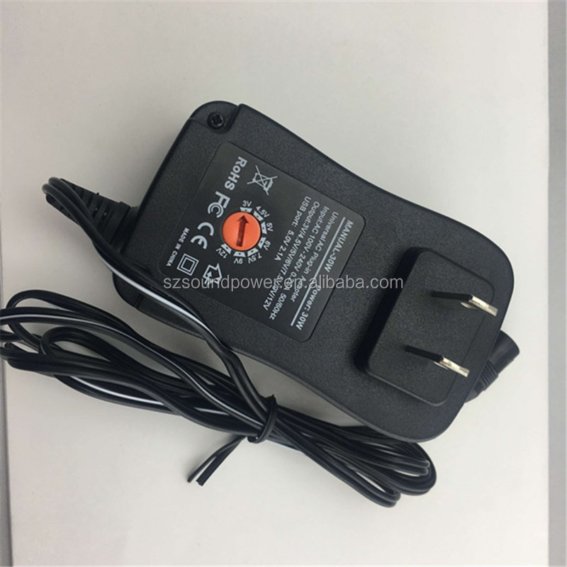 3-12v CE approved US UK EU plug multi tips 3V 5V 9V 12V universal switching power adapter 30W