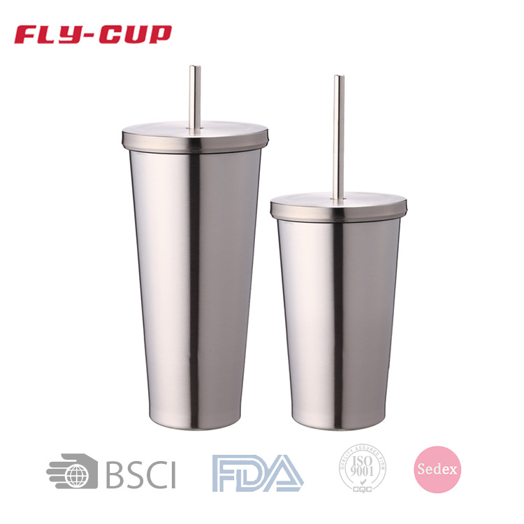 Fly Cup 18Oz/24Oz Double Wall Stainless Steel Tumbler Cups With Straw