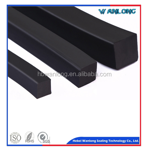 Solid NBR nitrile damping black square rubber strip