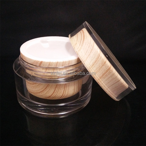 50ml wooden round shape Acrylic Cosmetic jar