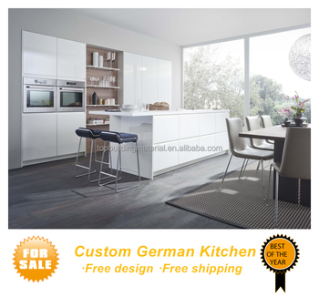 Modern handleless design white interior kitchen units