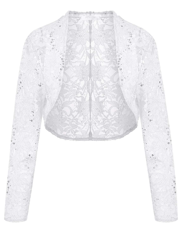 a45a5dca139 Lunir Women Lace Sweater Half Sleeves Lace Crochet Bolero Crop ...