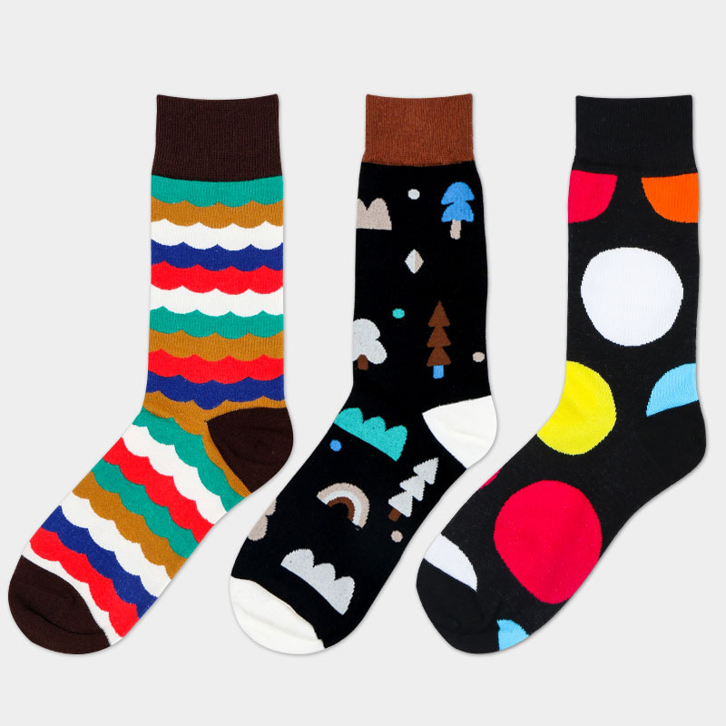 new design autumn winter spring wholesale in stock leisure business fashion men cotton happy tube socks