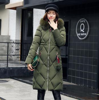 Big fur winter coat thickened parka women stitching slim long winter coat down cotton ladies down parka down jacket