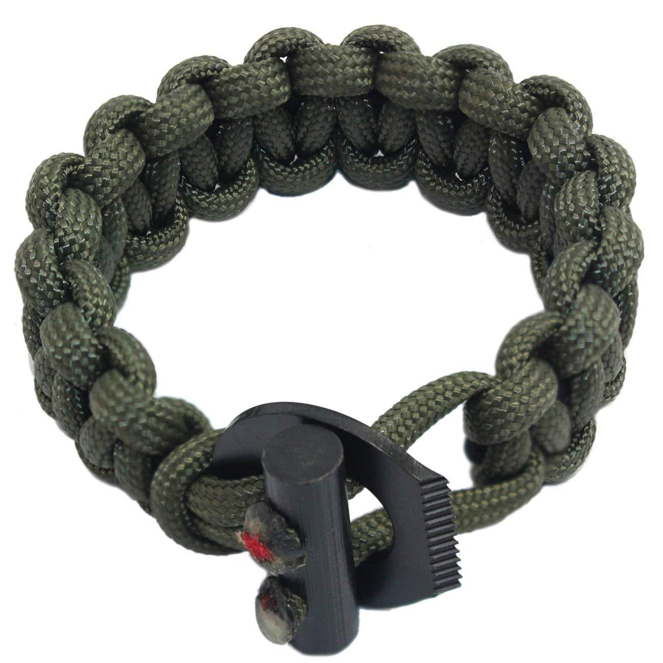Get Quotations Pskook Paracord Bungee Bracelet Elastic Shock Ferro Rod Survival With Fire Starter