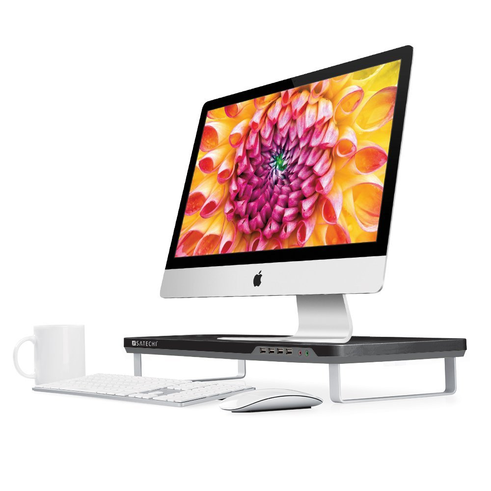 Satechi F3 Smart Monitor Stand with 4 USB 3.0 Ports and Headphone / Microphone Extension Ports for 21.5-Inch iMac, MacBook Pro, MacBook, Dell, PC, Samsung and more (Black)