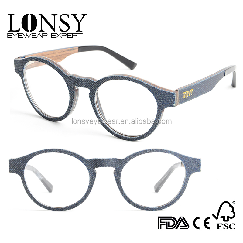 Round Shape Optional Colors Frame With Clear Fake Glasses Free LOGO Engraving