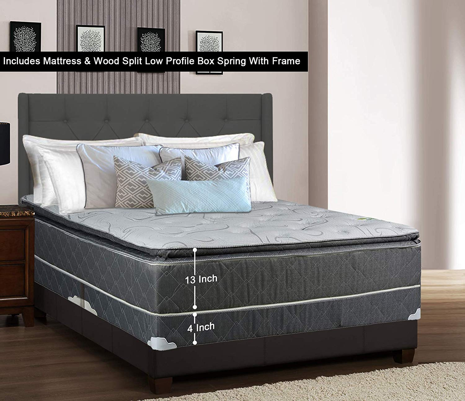 Greaton 9030vF-3/3-2LPS Fully Assembled Medium Plush Pillow Top Innerspring Mattress and 4-inch Split Wood Box Spring/Foundation Set with Frame |Twin Size| Grey, Color