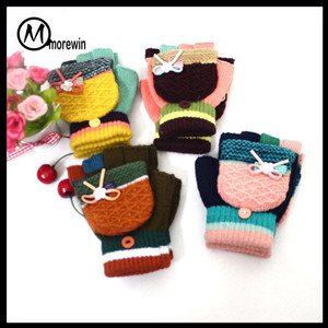 Morewin Colorful Fingerless Kids Mittens Decorated With Lovely Bow