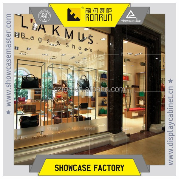 Wooden bag shop window image and whole shop design with interior furniture showcase