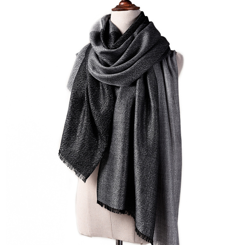 Winter women ladies extrafine <strong>merino</strong> <strong>wool</strong> silver blended shiny pashmina shawl <strong>scarf</strong>
