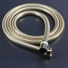 Hot sale top quality best price flexible gold shower hose with handheld 1.5m ss chromed brass fittings
