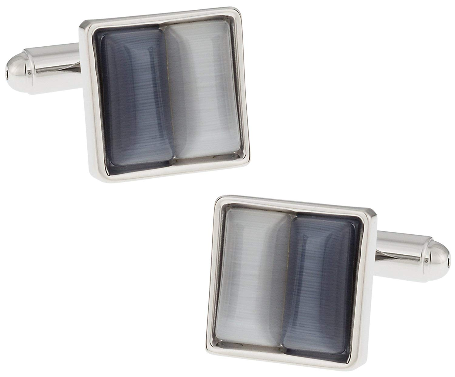 Cuff-Daddy Elegant Two-tone Gray & Silver Cufflinks with Presentation Box