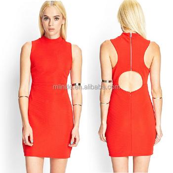 3152ef83f Moda al por mayor diferentes diseños de vestidos casuales para  damas elegante de cuello alto