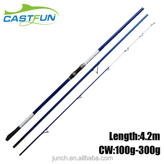 High Quality 3 Section 4.2m 100g-300g Canne a Peche Fishing Surf Rod Carbon Surf Casting Rod