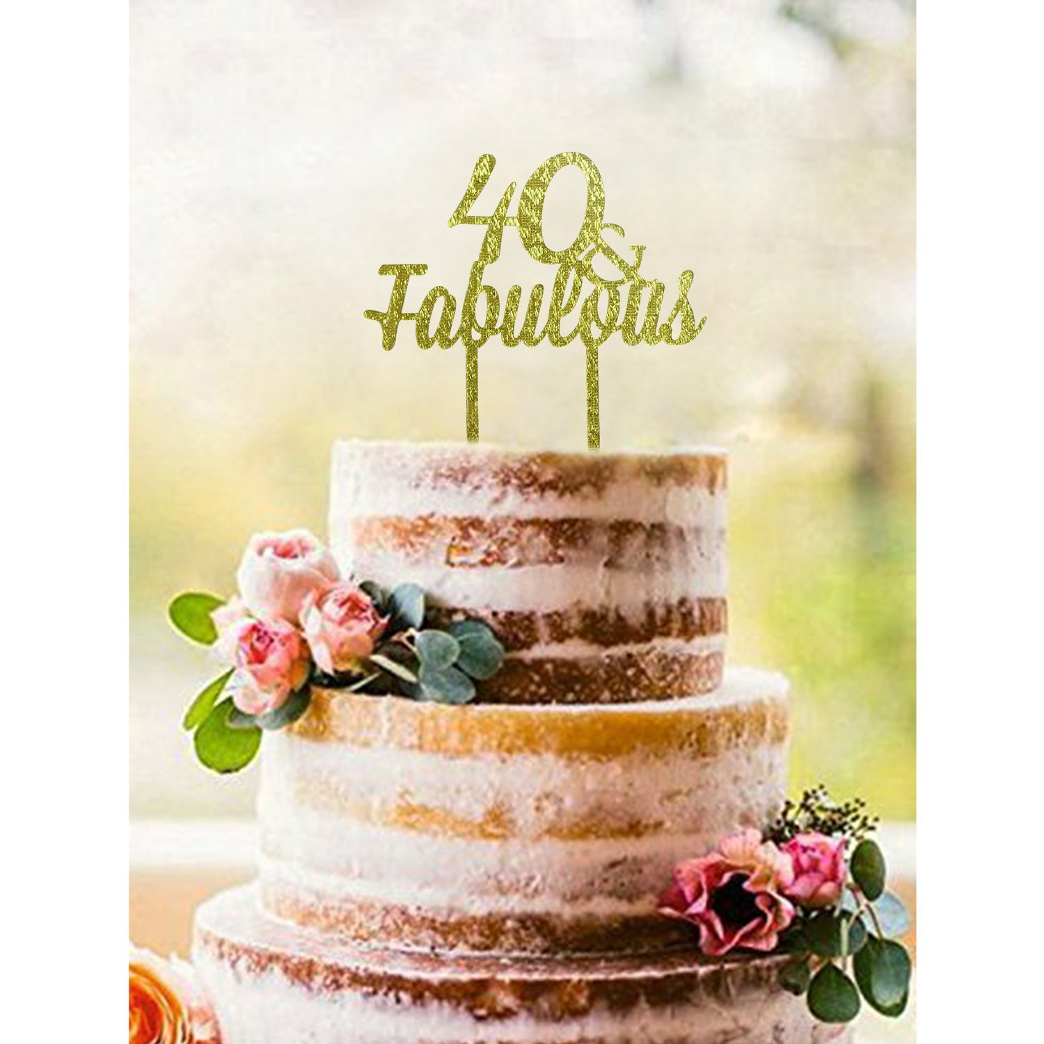 Get Quotations Gold 40 FABULOUS Acrylic Cake Topper