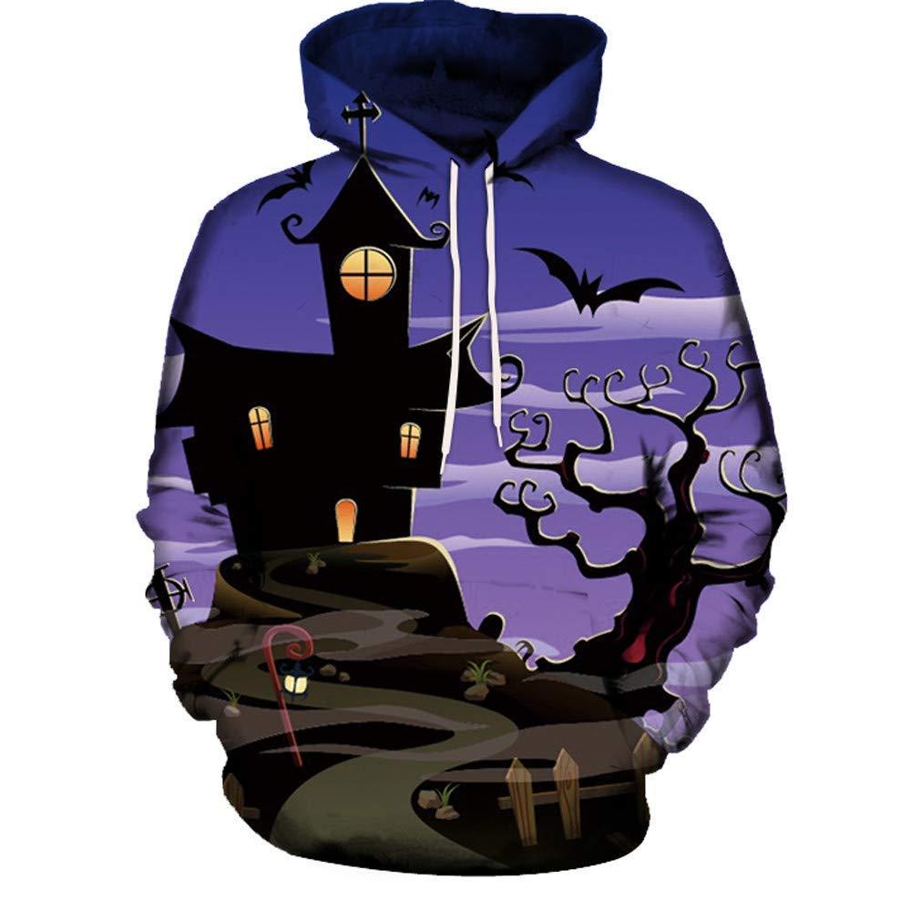 Zainafacai Fashion Print Hoodie- Unisex Realistic 3D Digital Hooded Top Sweatshirt-Happy Halloween 2018/2019