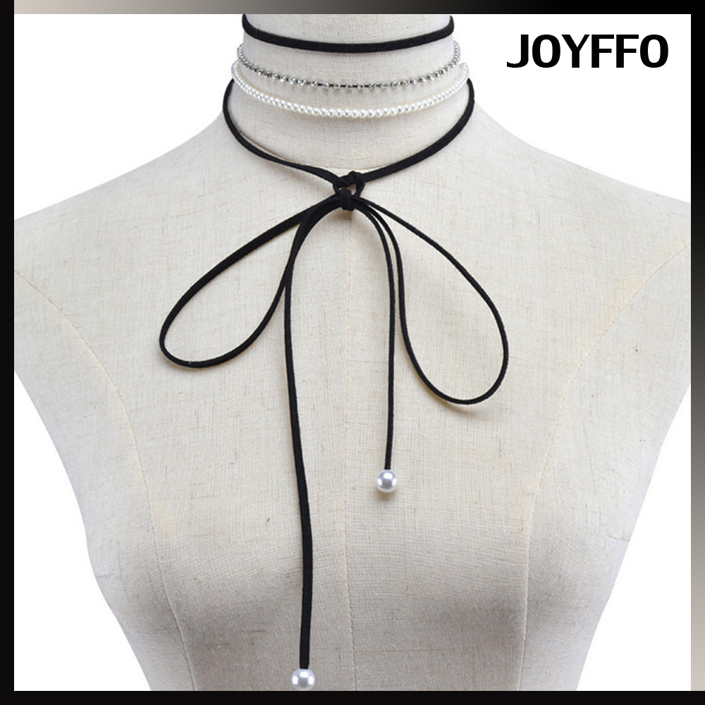 string multilayer chokers design silver plated imitation pearl rhinestone chain combination choker
