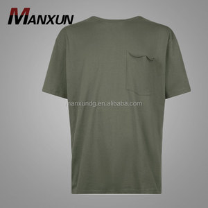 Hotsale Clothes Men Branded Formal Short Sleeves T-shirt Printing Olive Green Pocket Front Boxy T-Shirt