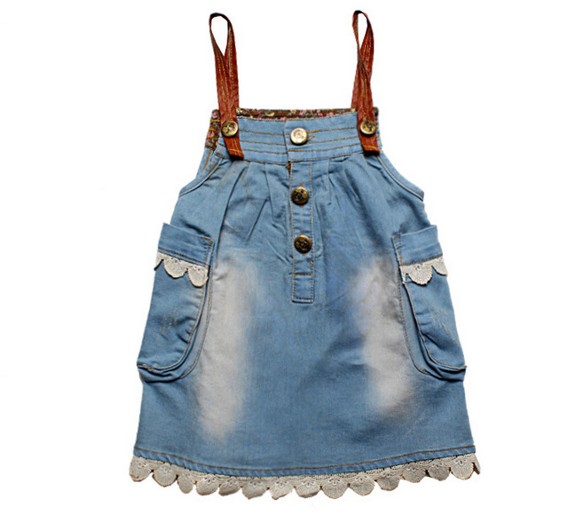 bac84d927f Get Quotations · Baby Girls Denim Dress Girls Suspender Dress Overall Lace  Pockets Mini Dress Kids Fashion Clothing 2