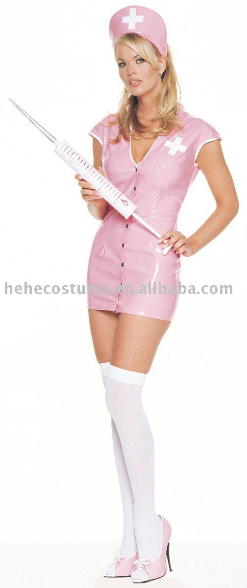 Sexy Pink Vinyl Nurse Costume Adult