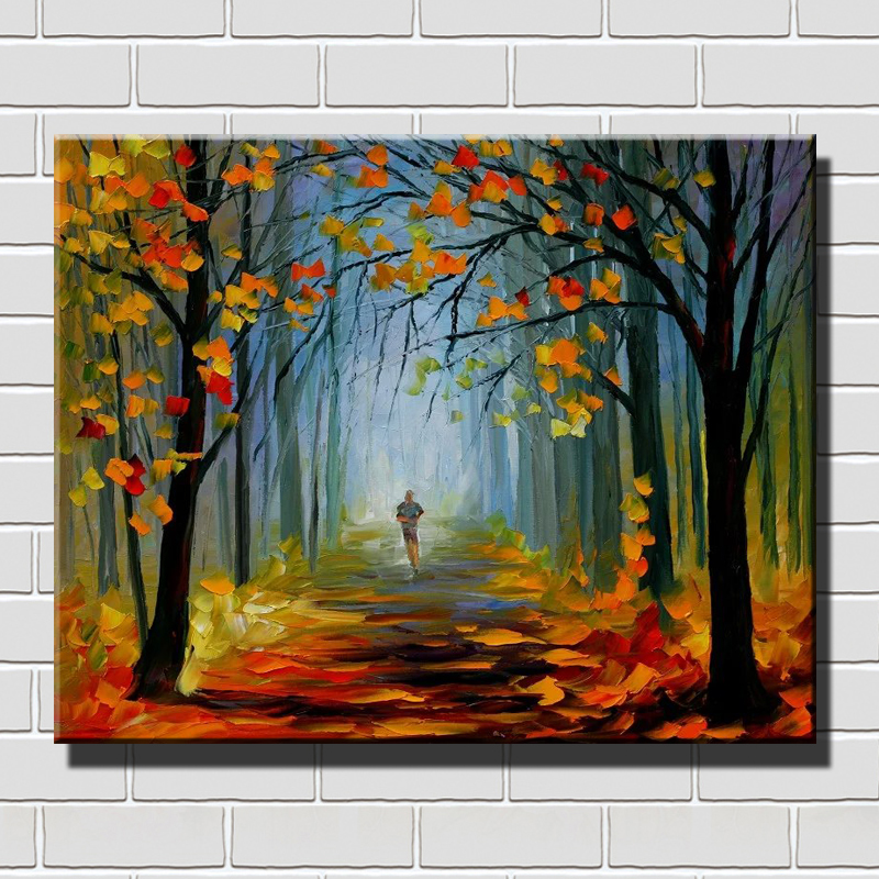 Free Shipping Handmade Oil Paintings Vintage Home Decor Palette Knife Paintings Walking alone in the park on Winter Tree Scenery