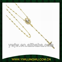 Our Lady Guadalupe 2.5mm Bead 14K Yellow Gold Rosary Necklace