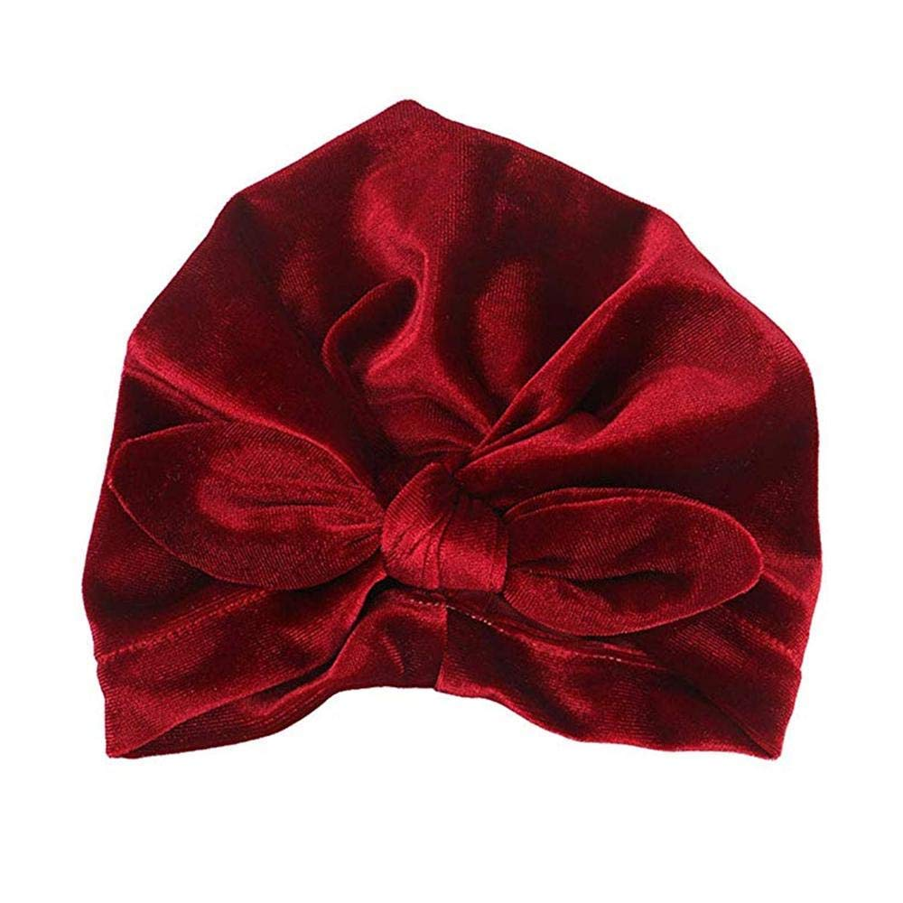 Baby Turban Knot Headband, Aolvo Velvet No Scratch Baby Skin-Friendly Knotted Headwear for Newborn, Toddler, Birthday Party, Special Event, Photo Shooting (7.8 X 6.7 Inches)