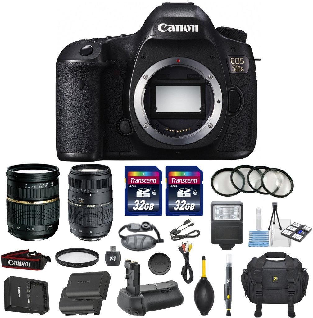 Canon EOS 5DS Full Frame CMOS Digital SLR DSLR Camera Bundle with Tamron AF 28-75mm f/2.8 Autofocus Lens & Tamron Auto Focus 70-300mm f/4.0-5.6 Di LD + Accessory Kit (17 items)