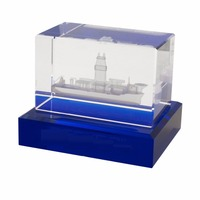 crystal customized 3D laser Crystal glass cube with blue base