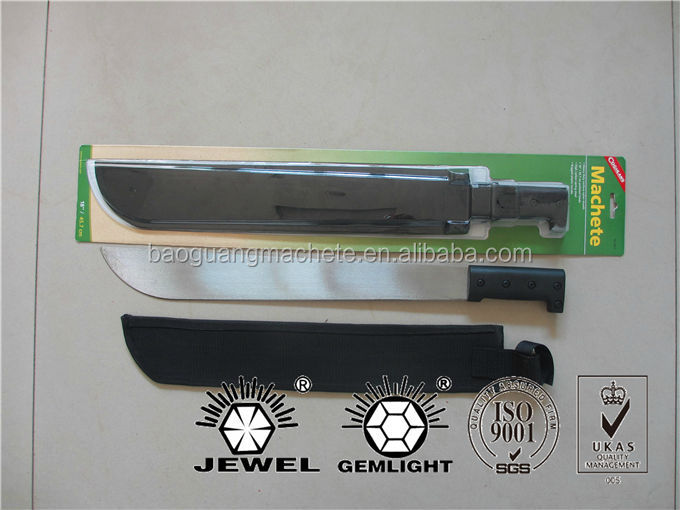 "Survival Machete with blister retail packaging, 18"" with cordura nylon sheath,Mn 65 spring steel blade"