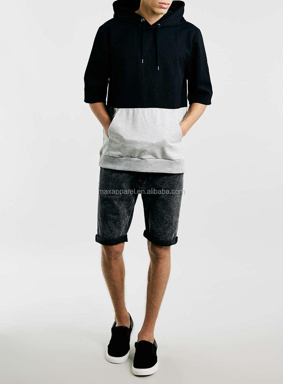 Grey And Black Cut Sew Short Sleeve Hoodie Overhead Mesh Kemeja Pria Shirt Sy860 Design Polyester Man Hoodies