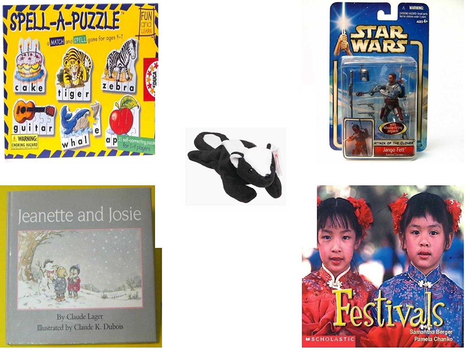 Children's Gift Bundle - Ages 3-5 [5 Piece] - Spell A Puzzle Game - Star Wars Jango Fett Action Figure Toy - TY Beanie Baby - STINKY the Skunk - Jeanette and Josie Hardcover Book - Festivals (Social