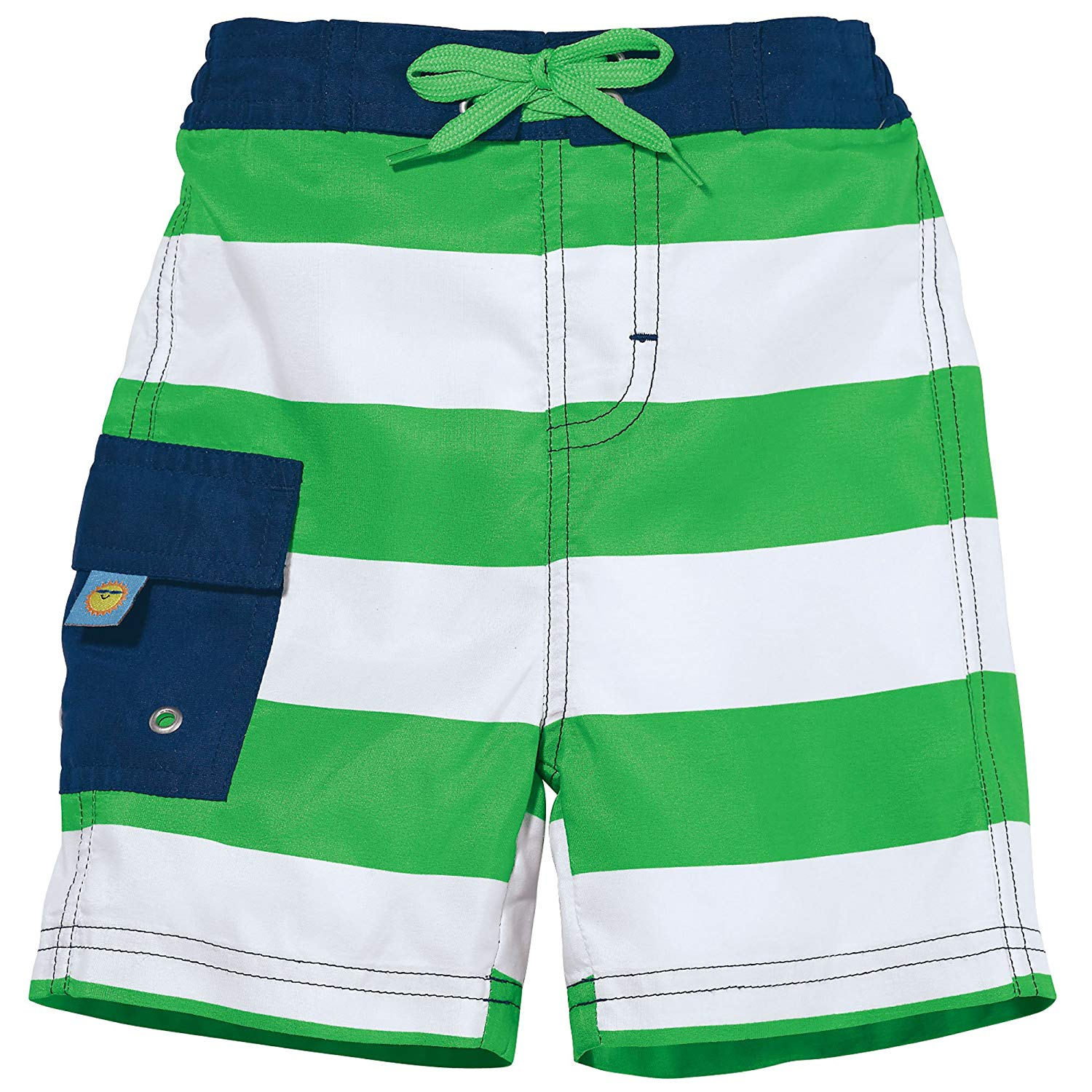 Winsummer Baby Boys Striped Board Surf Beach Shorts with Built in Swim Diaper Swim Trunks Adjustable Waist