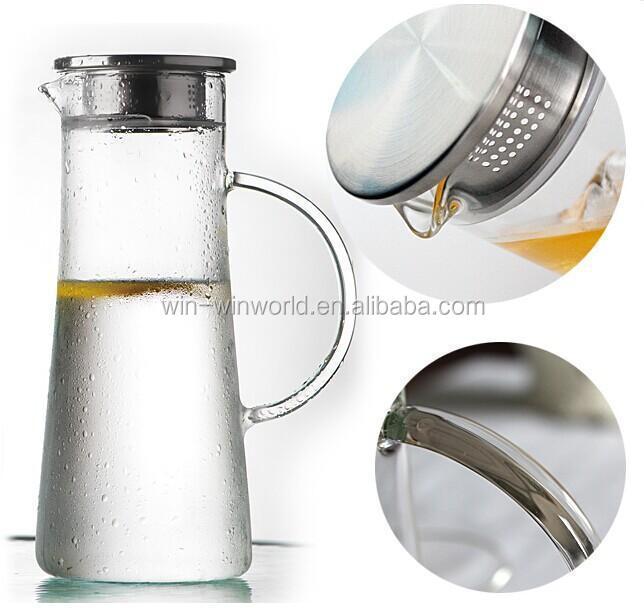 Eco Friendly Borosilicate Glass Water Filter Glass Jug