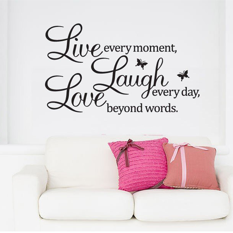 pvc home decor wall stickers live love laugh letters transprent waterproof vinyl wall quotes. Black Bedroom Furniture Sets. Home Design Ideas