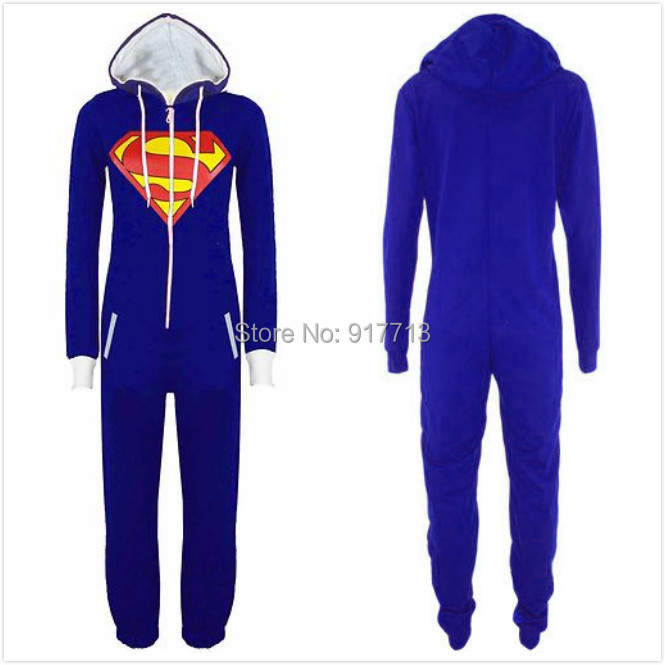 Get Quotations · Anime All Ine One Cartoon Cute Adult Women Men Unisex  Superman Jumpsuits Cosplay Onesie Blue Rompers 20a876e61