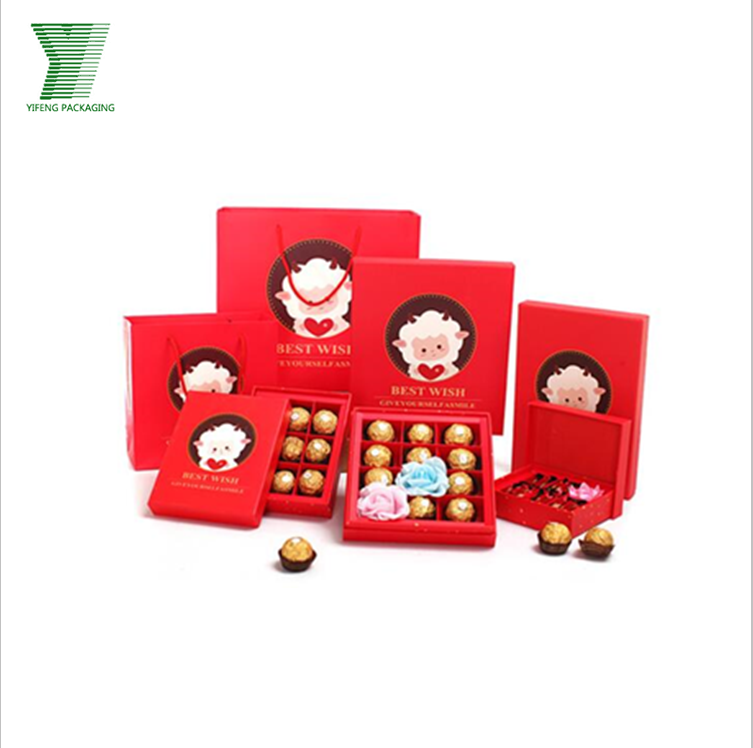 Children favour lovely printing paper gift chocolate box for food packaging