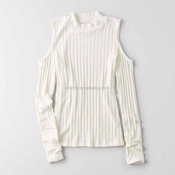 1fb229d20c2d2 Cold Shoulder Top plain blank off white custom t shirt printing long sleeve  manufacturer bangladesh t