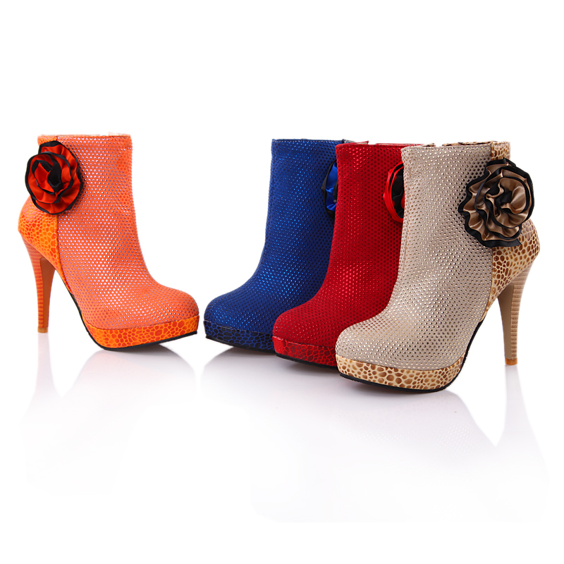 a5086bae5d8572 Get Quotations · ARMOIRE Brand New Fashion Apricot Red Blue Orange Ankle  Women Platform Boots Ladies Shoes Super High