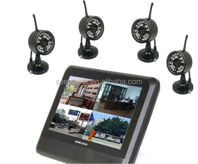 2.4GHz 7 inch tft lcd 300 meters recordable rechargeable wireless cctv camera with memory card