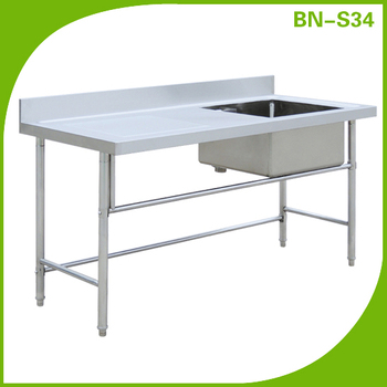 Free Standing Commercial Kitchen Steel Kitchen Steel Double Sink.