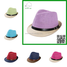 Fabriek prijs stijlvolle verse fedora panama <span class=keywords><strong>stro</strong></span> hats100 % papier strohoed met <span class=keywords><strong>band</strong></span>