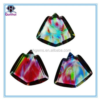 Colorful glass irregular shaped cz jewelry