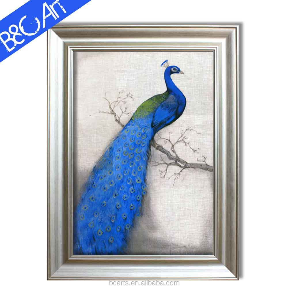 Fascinating noble jewelry blue feather handpainted peacock oil painting